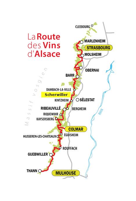 Plan route des vins d'alsace